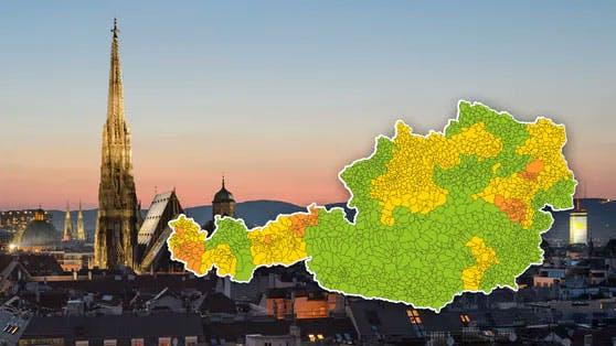 Die Corona-Karte für Österreich.
