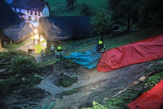 Überflutungen und Hangrutschungen nach Starkregen und Gewitter im Bezirk Murtal, 7. September 2020