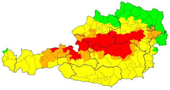 Unwetterwarnkarte für Österreich am 17. September 2020, Stand 7.30 Uhr