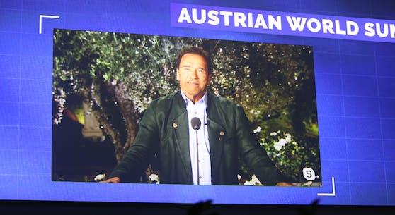 Arnold Schwarzenegger beim Austrian World Summit 2020.