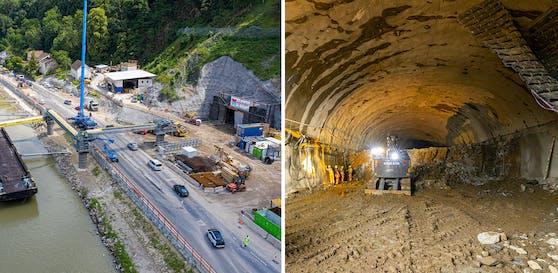"""Der erste Auffahrts-Tunnel ist bei 200 Meter angelangt. """"Heute"""" durfte mit der Drohne hineinfliegen."""