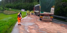 Lkw verlor 100 Liter Diesel auf Landstraße