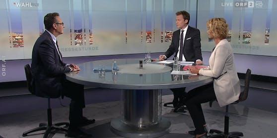 """Strache mit Tobias Pötzelsberger (ORF) und Eva Linsinger (""""profil"""")"""