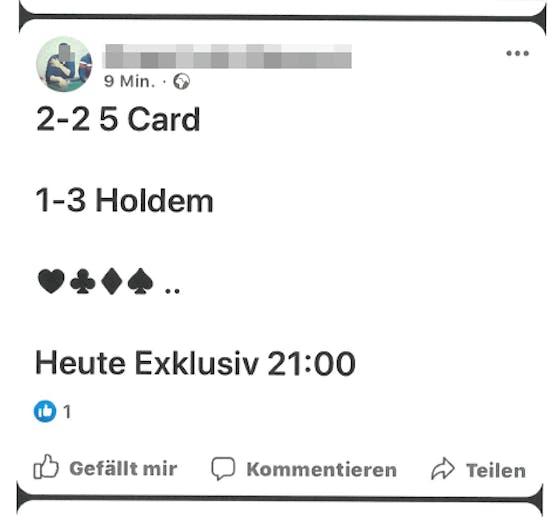 So wurde auf Facebook zu den illegalen Pokerrunden in Wien-Landstraße eingeladen.