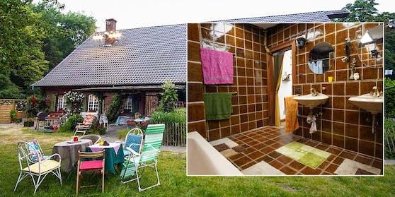 """Nicht nur der Garten im """"Sommerhaus der Stars"""", sondern auch das dunkel gekachelte Badezimmer, bringt die Promi-Paare auf Hochtouren."""