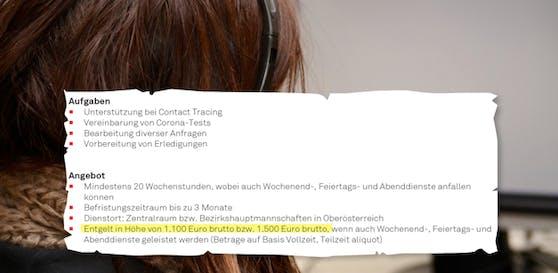 Die Stellenausschreibung des Landes OÖ steht unter Kritik. Contact Tracern wird 1.100 Euro brutto (VZ) bezahlt.