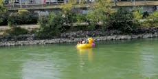 Wiener schwimmen mit Plastik-Ente im Donaukanal