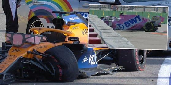 Carlos Sainz und Lance Stroll schrotten ihre Boliden in Runde eins.