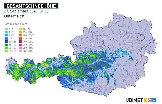 Die Schnee-Karte für Österreich