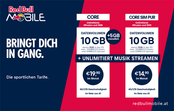 Red Bull MOBILE Core: 5GB mehr Datenvolumen und Huawei P40lite um 0 Euro.