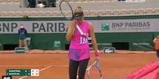 Tränen-Drama! Tennis-Ass gehen in Paris Schläger aus