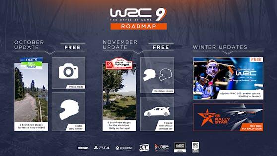 """Die Roadmap für """"WRC 9"""" ."""