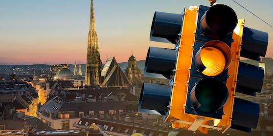 Corona-Ampel steht in Wien auf Gelb.