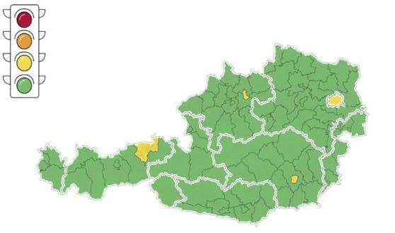 10 Regionen und Städte sind nun gelb.