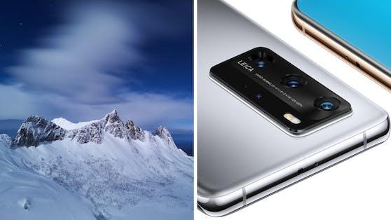 Huawei P40 Pro und Beispielbild, aufgenommen mit Huawei P40 Pro