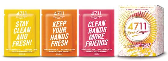 Das peppige Design in Kombination mit frechen Sprüchen auf den einzelnen Sachets sorgt für Freude und Abwechslung und beweist, dass Hygiene auch Spaß machen kann!