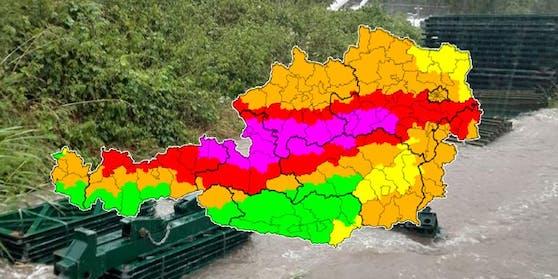 In Österreich herrscht weiter die höchste Unwetter-Warnstufe.