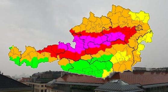 Höchste Wetter-Warnstufe in Österreich.