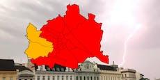 Unwetter-Warnstufe ROT für 21 Wiener Bezirke ausgerufen