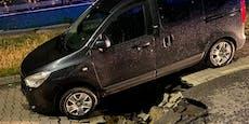 Riesen-Loch in Floridsdorf verschluckte beinahe Auto