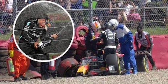 Verstappen steigt aus seinem Wrack. Unfall-Verursacher Hamilton feiert später seinen Sieg.