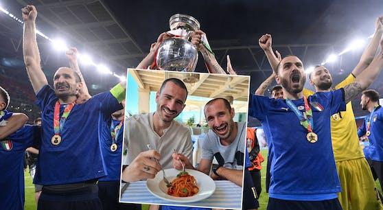 Bonucci und Chiellini mit Pasta-Posting