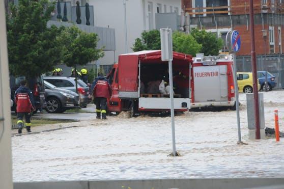 Ortschaften im Raum Krems geflutet