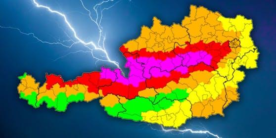 Höchste Unwetterwarnung für weite Teile Österreichs.