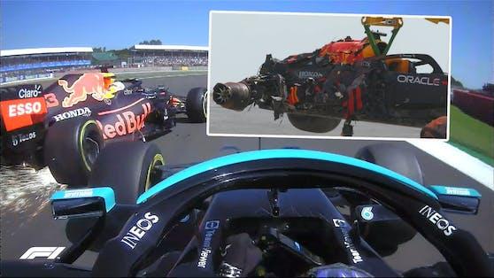 Lewis Hamilton und Max Verstappen kollidierten in der ersten Silverstone-Runde.