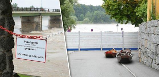 In Schärding  beim Inn wurde der Hochwasserschutz errichtet. Der Experte verspricht für die nächsten Tage eine Entspannung der Lage.