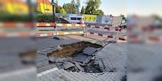 Starkregen verursacht massive Schäden auf Wiener Straße