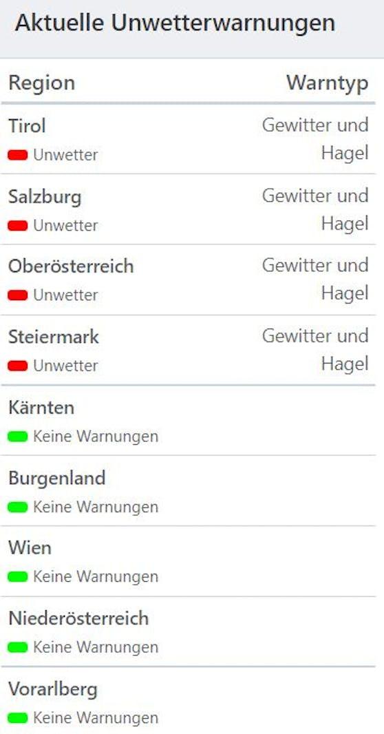Aktuelle Unwetterwarnungen (Stand 21.55 Uhr)