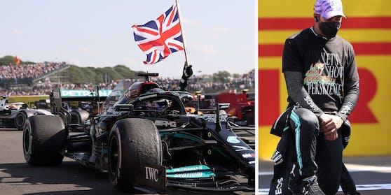 Lewis Hamilton siegte in Silverstone, kniete vor dem Rennen als Zeichen gegen Rassismus.
