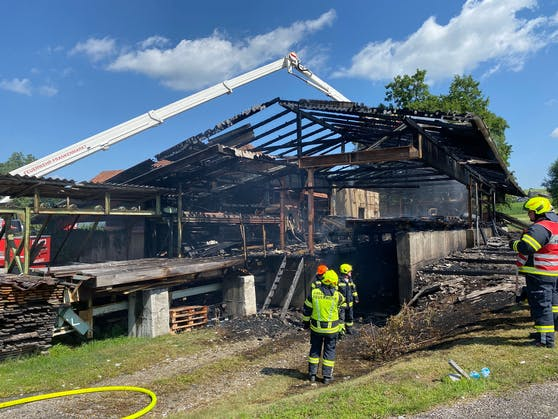 In Frankenburg am Hausruck brannte die Halle dieses Sägewerks nieder, 14 Feuerwehren waren im Einsatz.