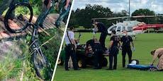 Radfahrer stürzt vor Alligator – der beißt sofort zu