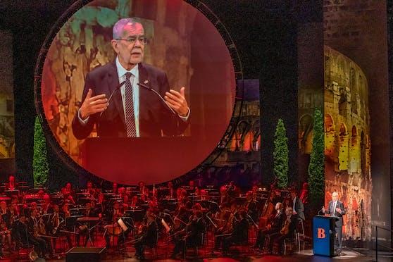 Bundespräsident Alexander Van der Bellen im Rahmen der Eröffnung der 75. Bregenzer Festspiele am Mittwoch, 21. Juli 2021, im Festspielhaus in Bregenz.