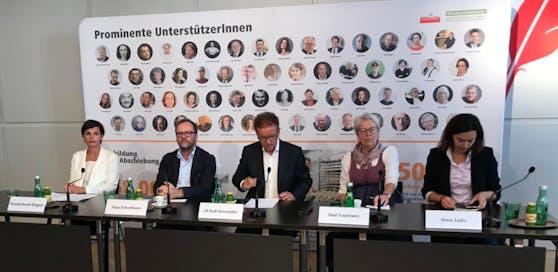 Von links: Pamela Rendi Wagner (SPÖ), Sepp Schellhorn (Neos), Rudi Anschober (die Grünen), Gexi Tostmann (Unternehmerin), Alma Zadic (Liste Pilz)