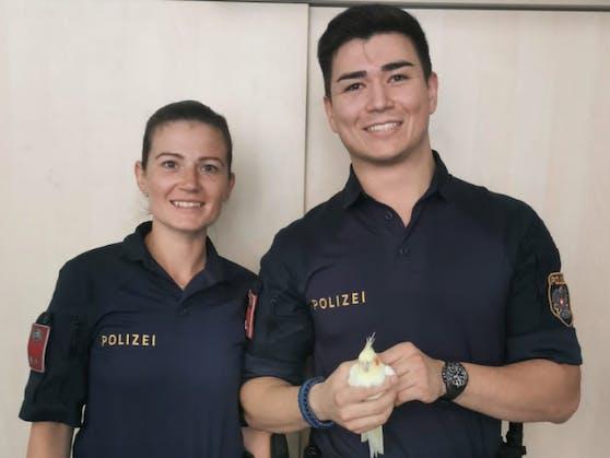 Denise und Benni von der Polizei Wien kümmerten sich um den ausgeflogenen Sittich.