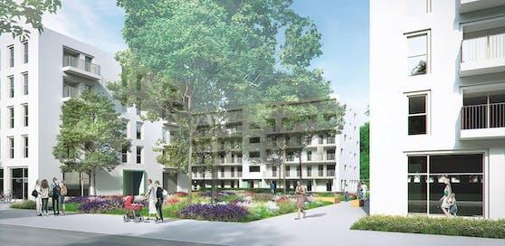 """Grün- und Freiflächen verleihen dem gesamten Wohngebiet """"Neu Leopodau"""" eine angenehme Atmosphäre zum Leben."""