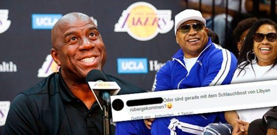 """Unter ein Foto der US-Superstars Magic Johnson (li.) und LL Cool J postete ein regionaler Tourismus-Chef aus OÖ folgendes: """"Oder sind die gerade mit dem Schlauchboot von Libyen rübergekommen"""""""