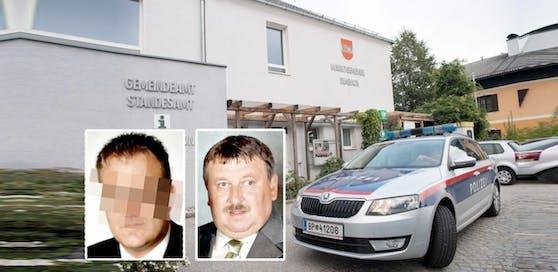 Bei der Attacke wurden Bürgermeister Josef Wiesinger (re.) und Amtsleiter Gerald H. verletzt