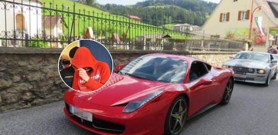 Passend zur Farbe des Ferraris war der Bursche vor Gericht gekleidet.