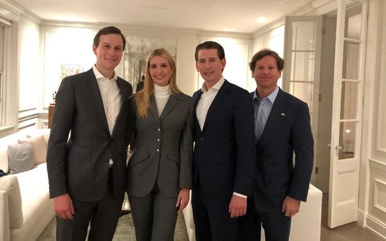 Bundeskanzler Sebastian Kurz im Rahmen des Dinners mit Ivanka Trump, Ehemann Jared Kushner (l.) und US-Botschafter Trevor Traina.