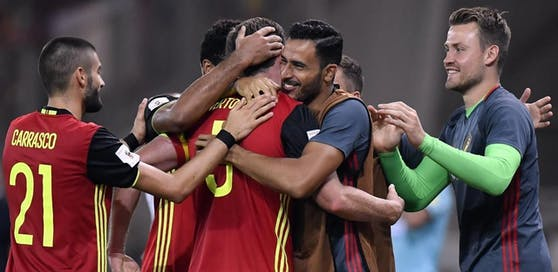 Jubelnde Belgier! Das Ticket für die WM-Endrunde 2018 ist fix.