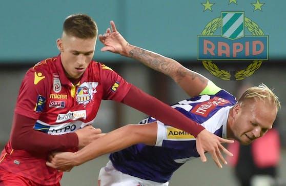 Alex Sobczyk (l.) ist heuer an St. Pölten verliehen. Hier rackert er gegen Raphael Holzhauser.