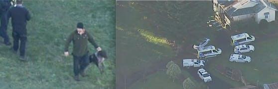 In Australien wurde ein Kleinkind (14 Monate) vom Deutsch Drahthaar der Familie tot gebissen. Polizisten nehmen den Hund (li.) nach der Tat mit.