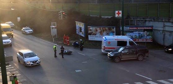 Die Unfallstelle: Crash mit Motorrad in Purkersdorf.