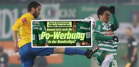 """Die deutsche """"Bild-Zeitung"""" zeigt die Rapid-Hintern groß als abschreckendes Beispiel für Werbeflächen."""