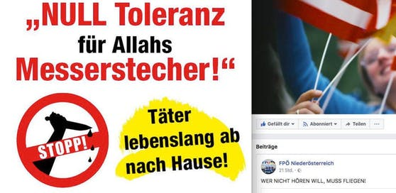 """FPNÖ-Posting: """"Null Toleranz für Allahs Messerstecher!"""""""