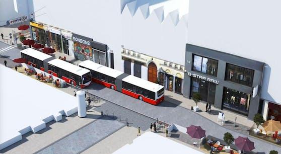 Laut dem Vorschlag der Wiener Linien soll der Bus 13A für die Dauer der U-Bahnarbeiten ab Mitte 2019 in beiden Richtungen durch die Neubaugasse fahren. (c) Wiener Linien
